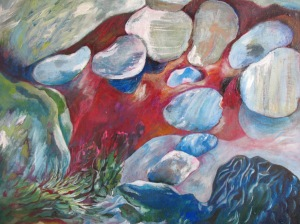 Flying Stones, oil painting